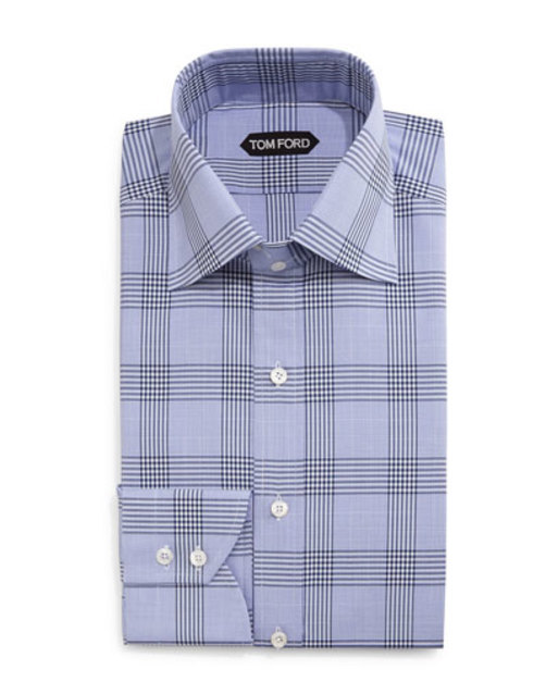 Prince of Wales Check Dress Shirt, Blue White
