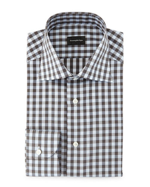 Large Gingham Woven Dress Shirt, Light Blue Charcoal