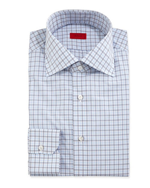 Check-Woven Dress Shirt, Soft Blue Gray
