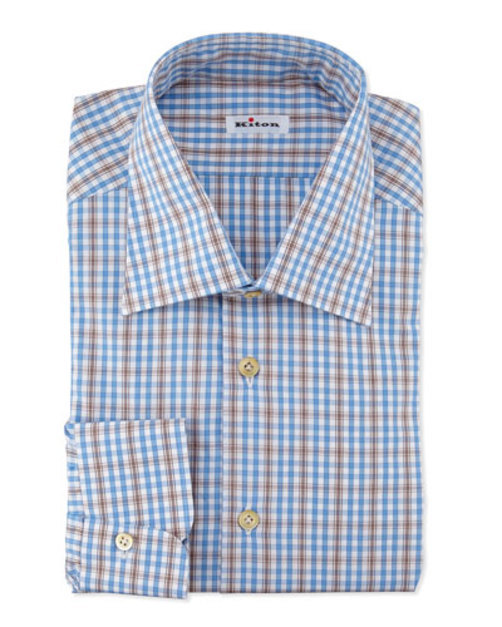 Plaid Woven Dress Shirt, Blue Brown