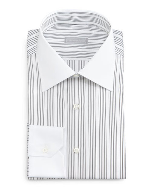 Contrast-Collar Track Striped Dress Shirt, Black