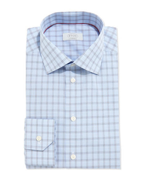 Contemporary Windowpane-Check Dress Shirt, Blue