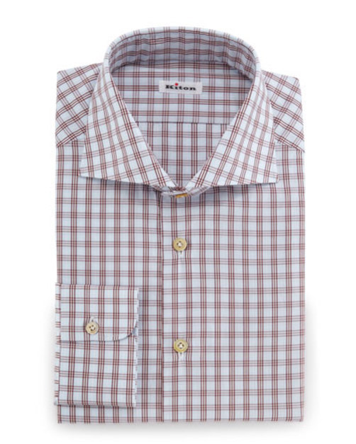 Check Woven Dress Shirt, Rust Light Blue