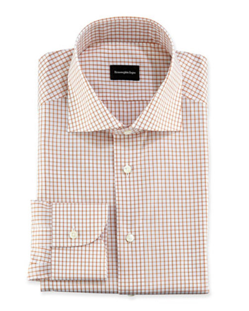 Box-Check Dress Shirt, Orange