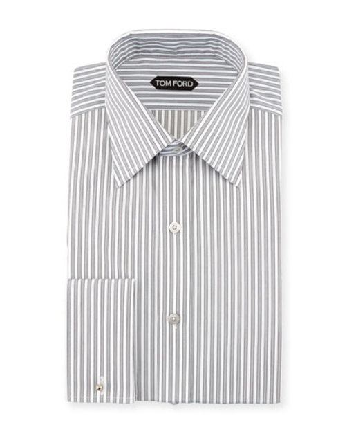 Striped French Cuff Dress Shirt, Black White