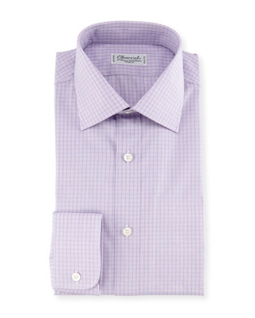 Madras Plaid Dress Shirt, Pink Blue