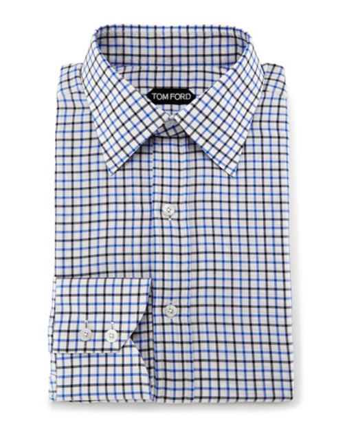 Tattersall Check Dress Shirt, White Blue