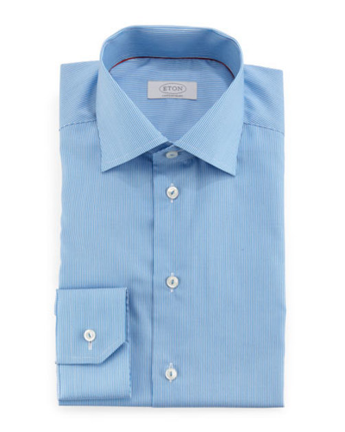 Contemporary-Fit Mini-Stripe Dress Shirt, Light Blue