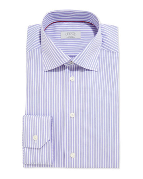 Contemporary Striped Dress Shirt, Purple White