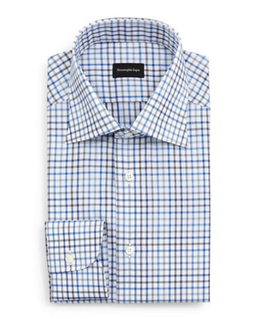 Box Check Dress Shirt, Blue Charcoal White