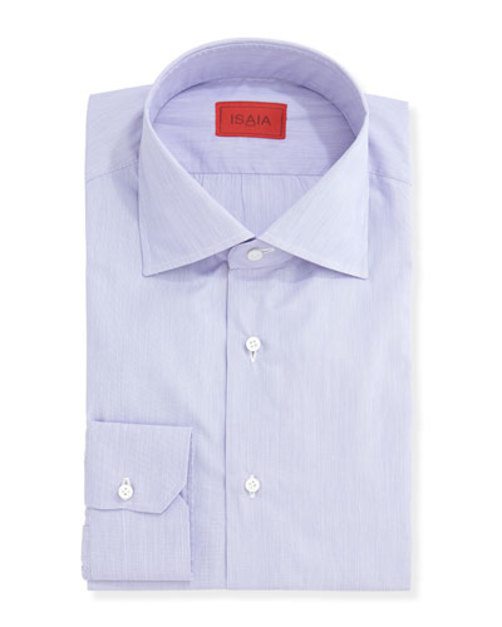 Micro-Stripe Solid Dress Shirt, Purple