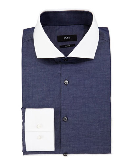 Slim-Fit Shirt with White Collar Cuffs, Dark Chambray