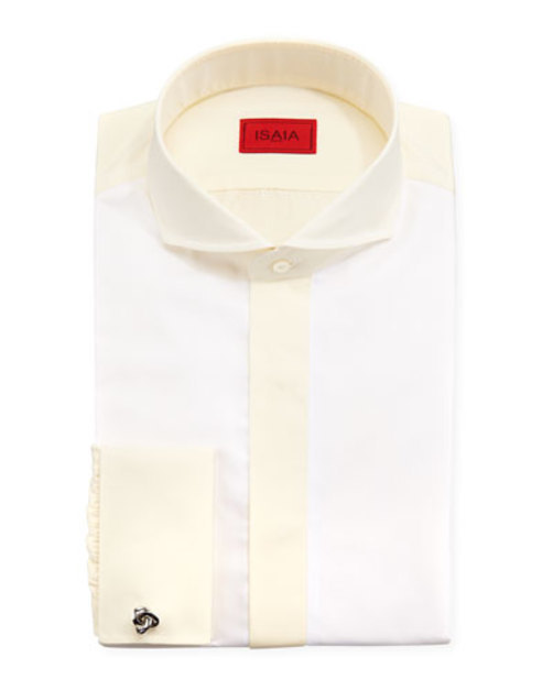 Colorblocked Dress Shirt, White Yellow