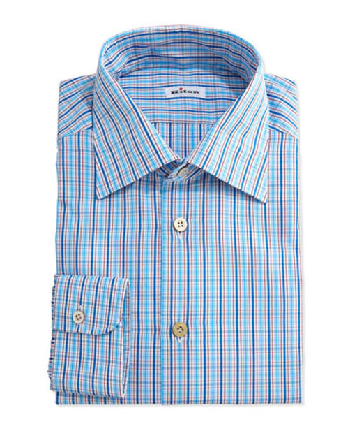 Multi-Check Woven Dress Shirt, Blue Red