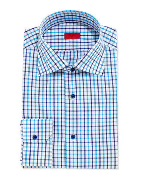Box-Check Button-Down Shirt, Turquoise Navy