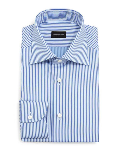 Twill Rope Stripe Dress Shirt, Blue
