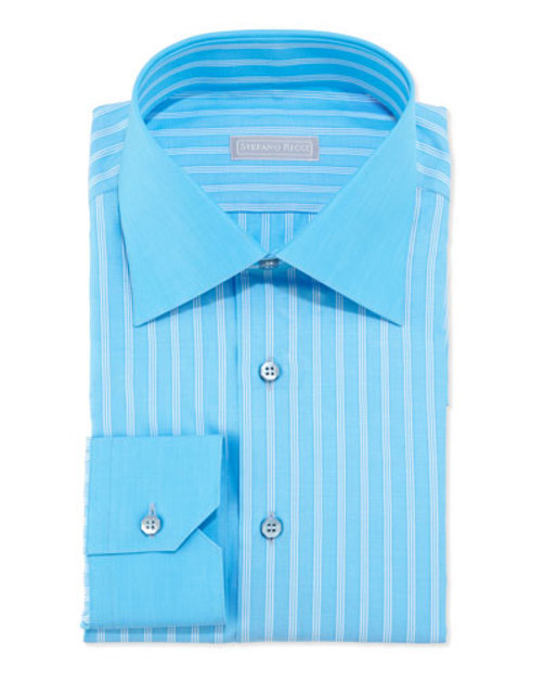 Woven Multi- Pinstripe Dress Shirt, Aqua White