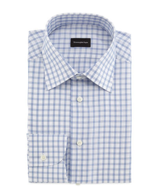 Bold Grid Dress Shirt, Blue White