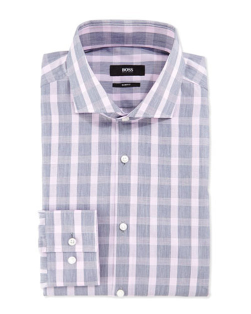 Slim-Fit Check Shirt, Gray Pink