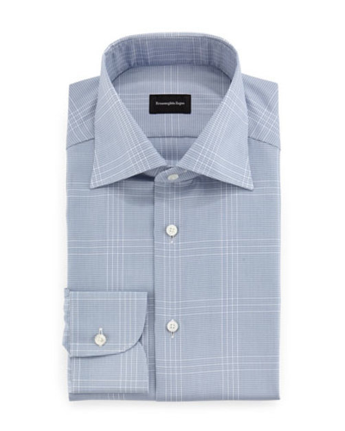 Houndstooth-Plaid Woven Dress Shirt, Blue