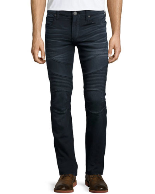 Rocco Over-Dye Moto Jeans, Black