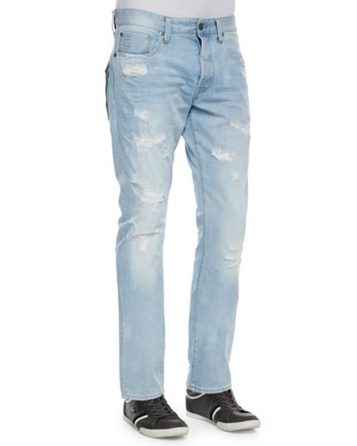 Tapered Denim Jeans with Destroyed Detail, Light Blue