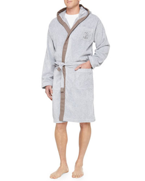 Men's Cotton Spa Robe, Gray GREY