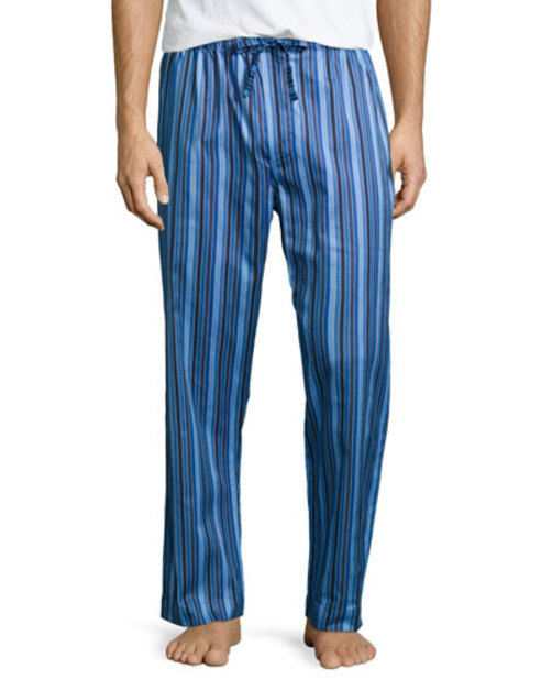 Satin-Striped Pants, Pajama Blue