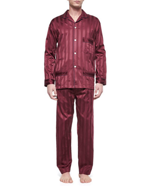 Tonal-Stripe Pajama Set, Burgundy