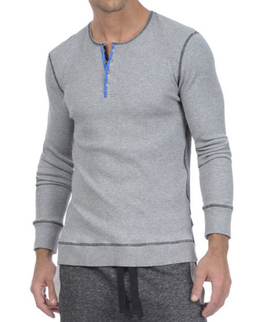 Contrast-Placket Waffle Henley, Light Gray