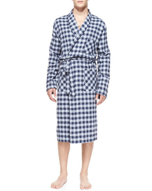 Plaid Robe with Piping, Blue