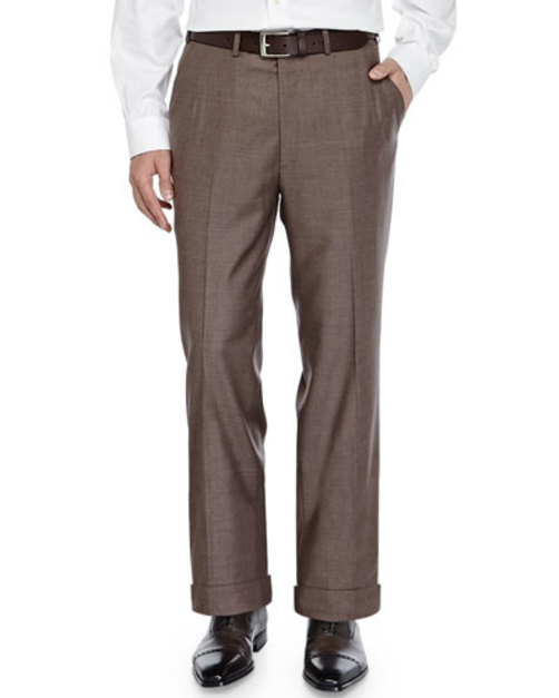 Flat-Front Twill Trousers, Brown