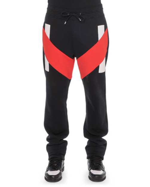 Sweatpants with Contrast Panels, Black Red