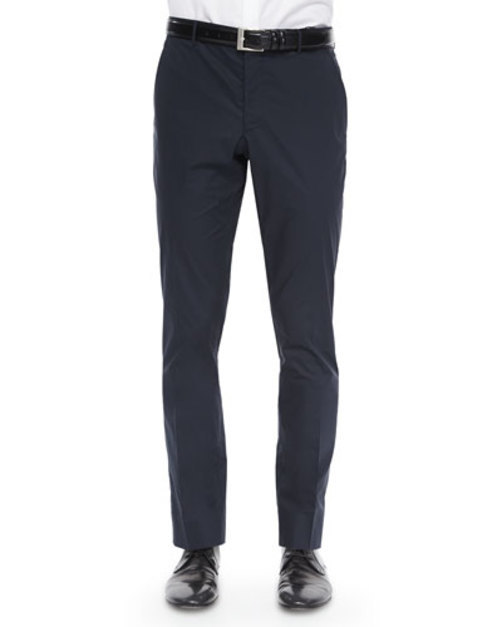 Modern-Fit Tailored Trousers, Navy