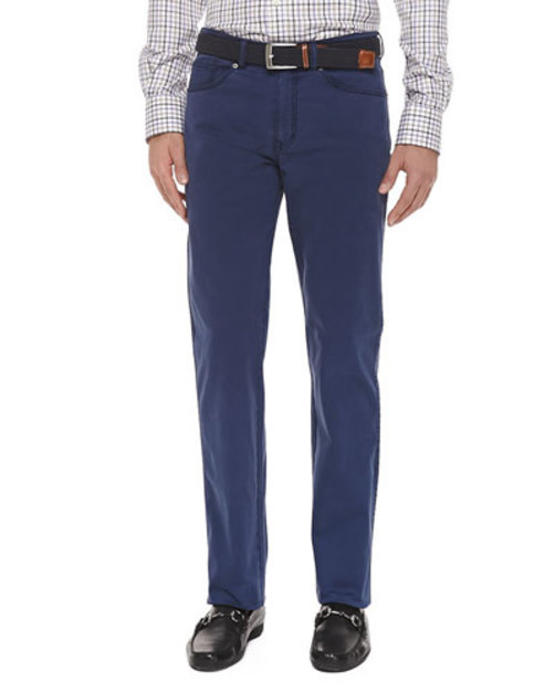 5-Pocket Navy Stretch-Cotton Trousers,