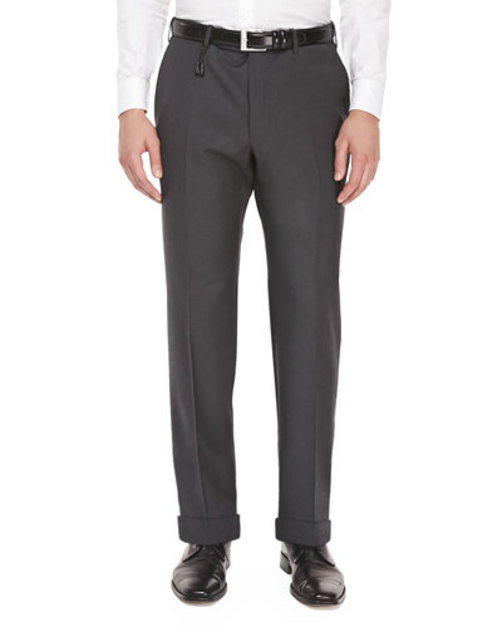 Benson Super 150's Wool Trousers, Charcoal