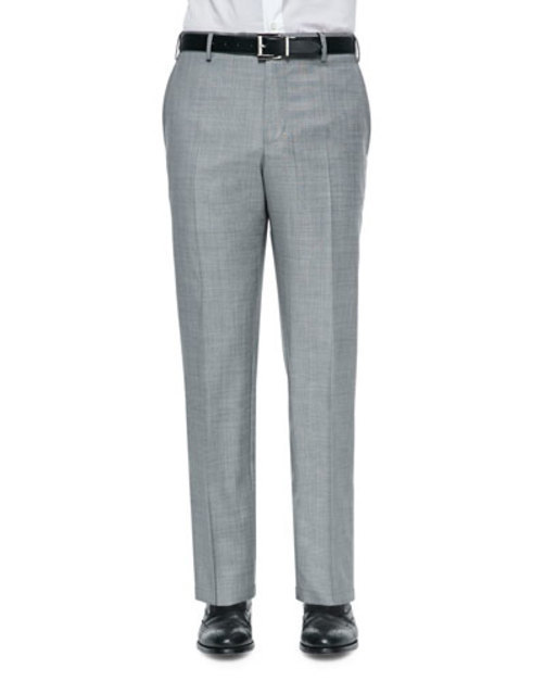 Parker Flat-Front Trousers, Gray Sharkskin