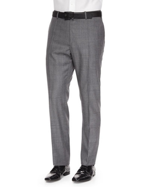 Benson Sharkskin Wool Trousers, Light Gray
