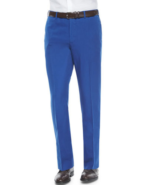 Chinolino Cotton Linen Trousers, Blue