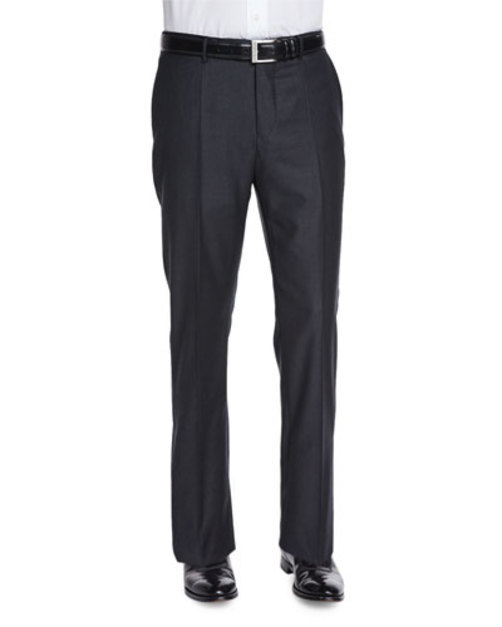 Super 150s Wool Cashmere Trousers, Charcoal