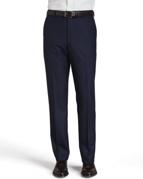 Basic Wool Trousers, Navy