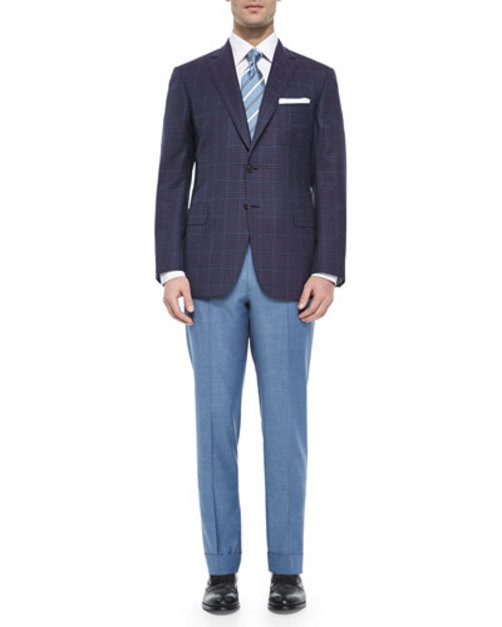 Flat-Front Solid Wool Trousers, Cadet Blue