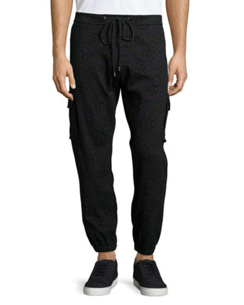Medallion-Print Knit Jogger Pants, Navy