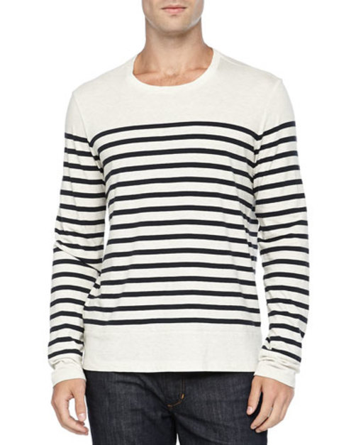 Long-Sleeve Colorblock Striped Tee, White Navy