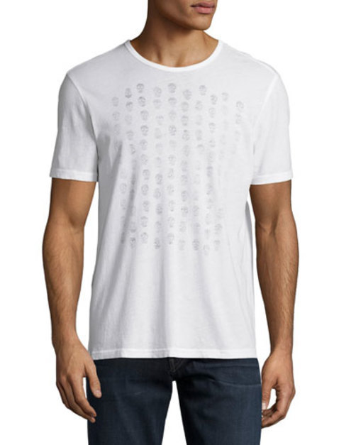 Skull-Graphic Knit Tee, Ivory