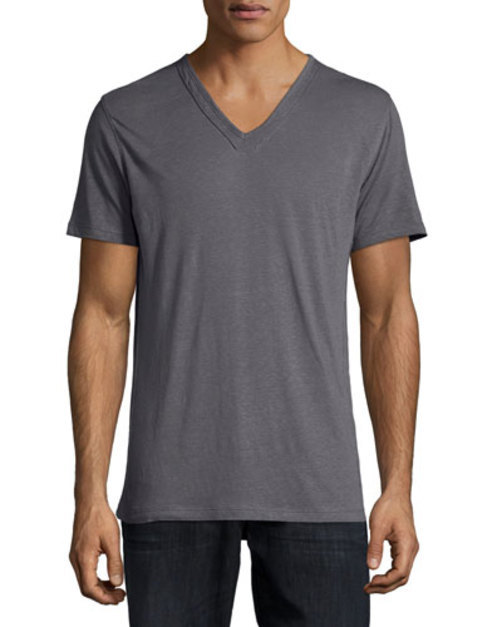 Short-Sleeve V-Neck Tee, Purple