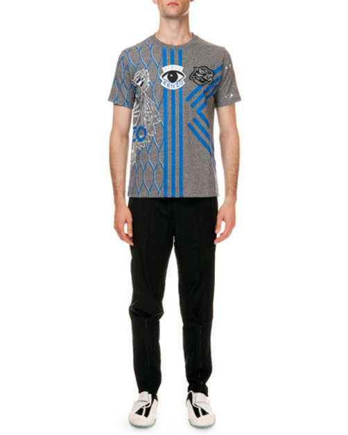 Embroidered Multi-Icon Short Sleeve T-Shirt, Gray Blue