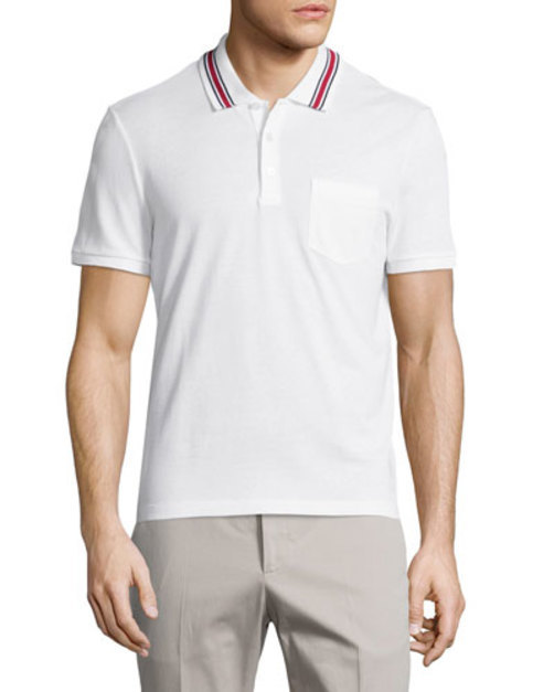 Cotton-Jersey Polo Shirt, White
