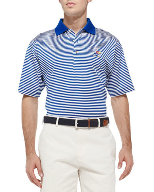 University of Kansas Striped Gameday College Polo Shirt