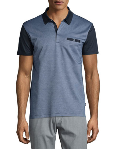 Ancona Colorblock Pique Polo Shirt, Navy